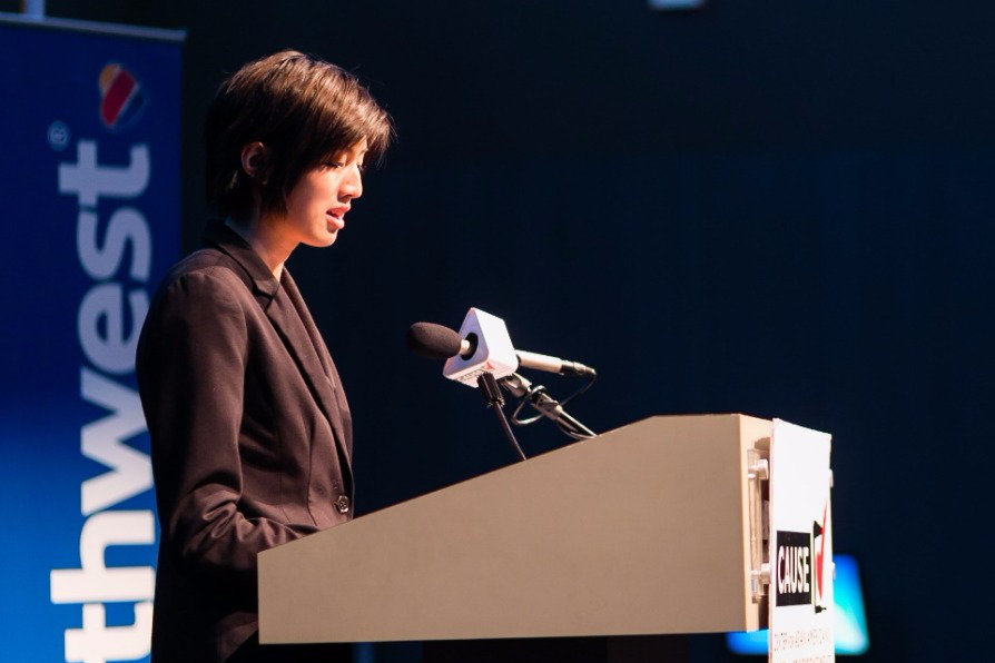 Jess Liu speaking at the 2016 CAUSE Leadership Academy Graduation