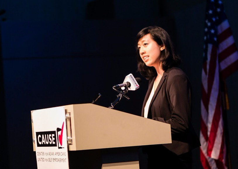 Phoebe Shen speaking at the 2016 CAUSE Leadership Academy Graduation