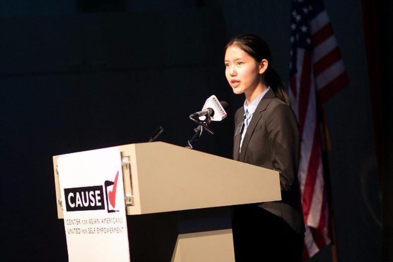 Joanna Tien speaking at the 2016 CAUSE Leadership Academy Graduation