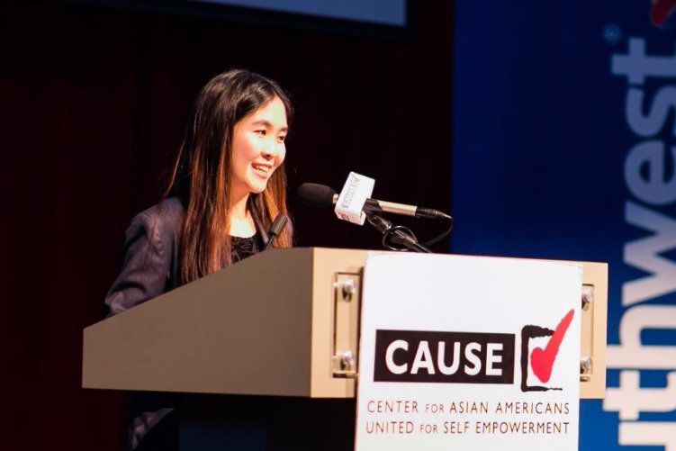 Xuan Tong speaking at the 2016 CAUSE Leadership Academy Graduation
