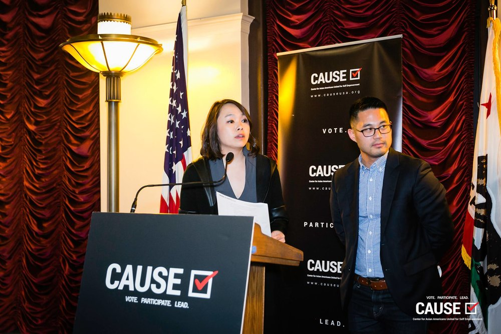 Lisa Thong and Thomas Wong speaking at the 2019 CAUSE Leadership Network Reception