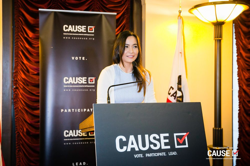 Jessica Caloza speaking at the 2019 CAUSE Leadership Network Reception
