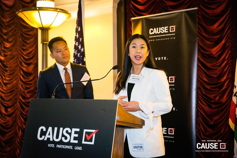 John Tang and Jade Leung speaking at the 2019 CAUSE Leadership Network Reception