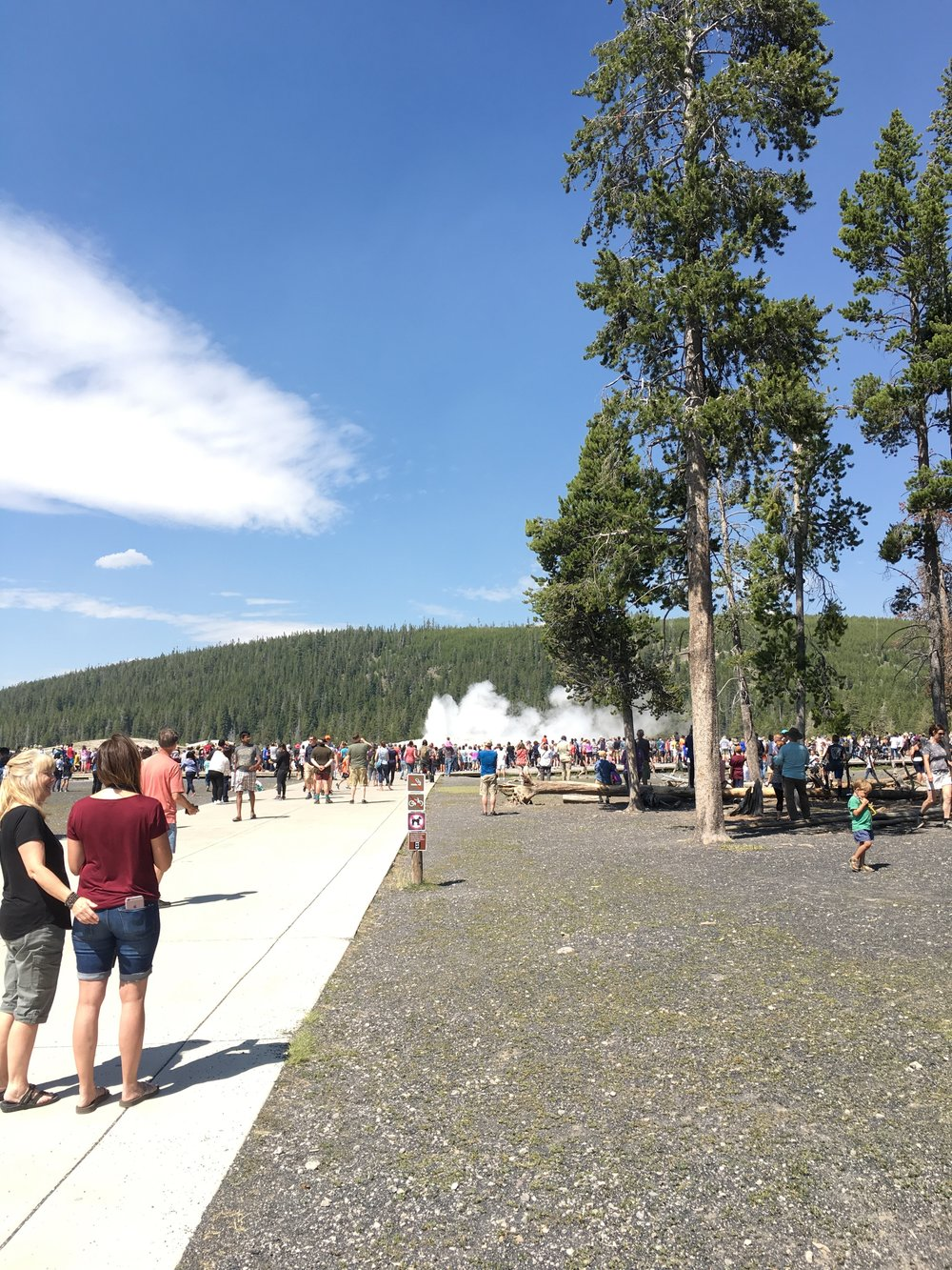 My crummy photo of Old Faithful (so crowded)!