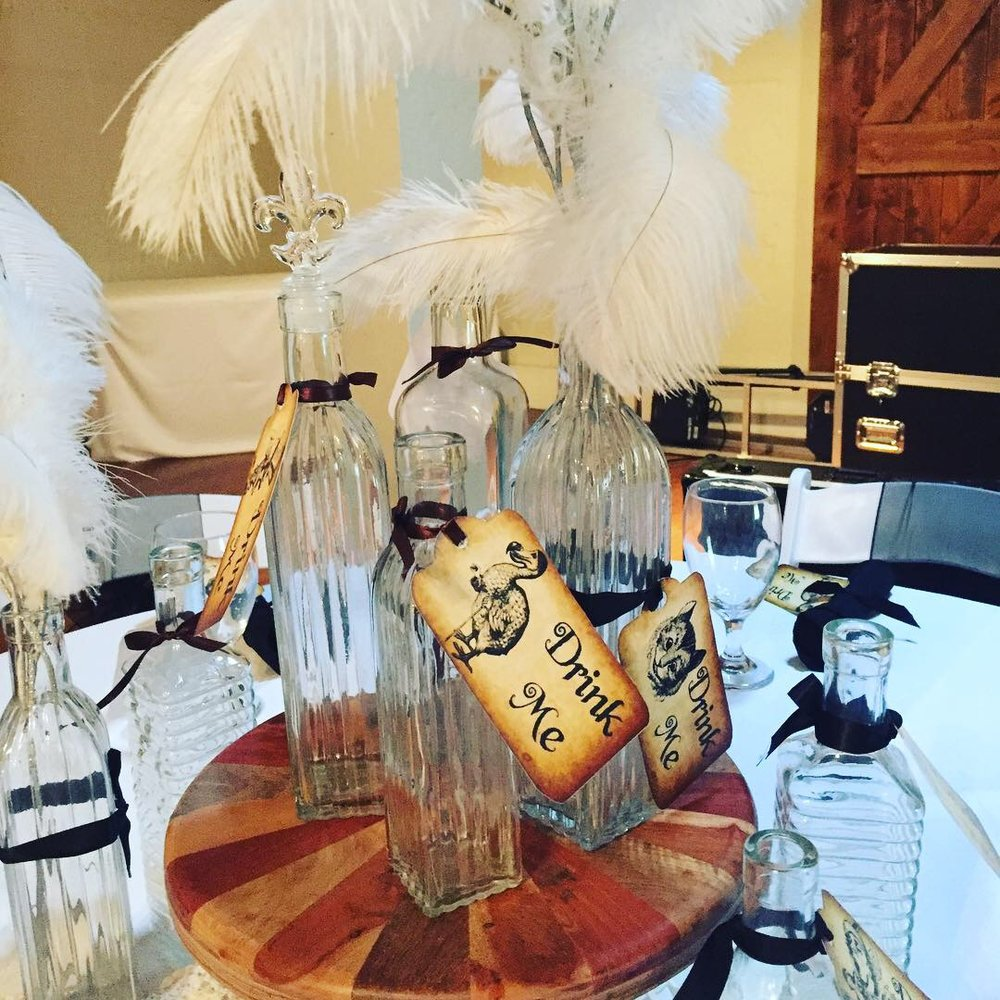 'Drink Me' centerpiece created by Cellars staff