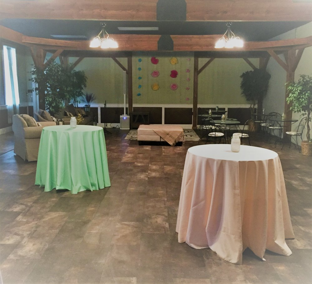 The lounge, transformed into a garden patio party