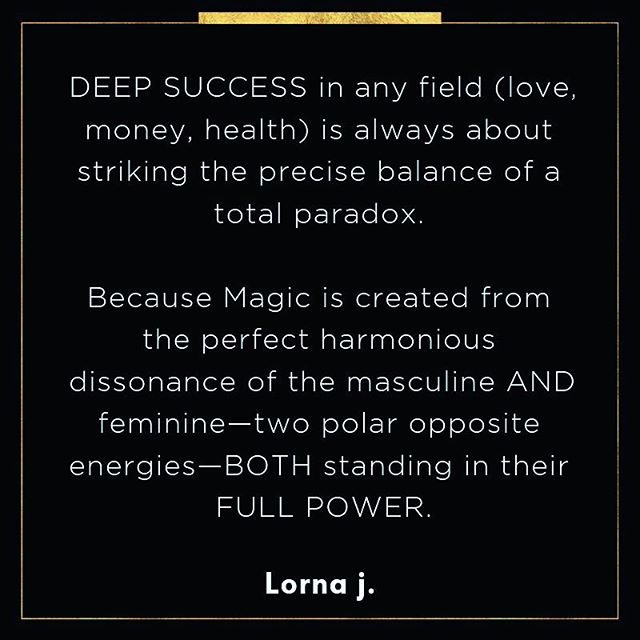 DEEP SUCCESS in any field (love, money, health) is always about striking the precise balance of a total paradox. 💡💡💡 . . . Because Magic 💫 is created from the perfect harmonious dissonance of the masculine AND feminine—two polar opposite energies—BOTH standing in their FULL POWER. 🎩👑 . . Lorna j. . .  #lornaj #DarkAlchemy #SuperConciousAwakening #DarkConsciousness #enDarkenment #TheAgeofenDarkenment #NewAgeIsDead #AgeofDisruption #GeniusIsInYourBones #DarkCodes #DarkDNA #EnlightenmentIsNotTheGoalItsTheAgeofenDarkenment #AntiHerosJourney #DarkIstheNewLight #MagicIsNotAMysteryItsASpiritualScience #Masculinist #MagicManMovement #MagicMan #MagicalMasculine #AgeoftheGeniusGiants #YouAreAGeniusGiant #GeniusGiantBlueprintIsHere #TheMissingLinktoLOA