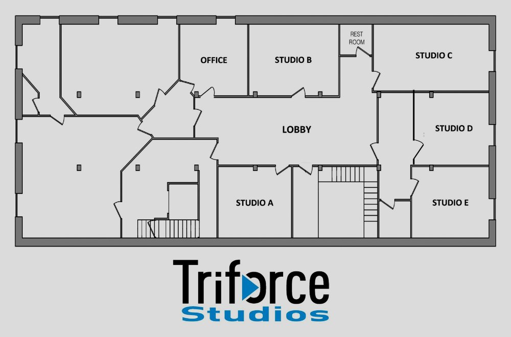 Currently all studio spaces are leased. Please check back for any openings. We do offer single day and multiple day rehearsal spaces for bands, musicians, and solo artists.