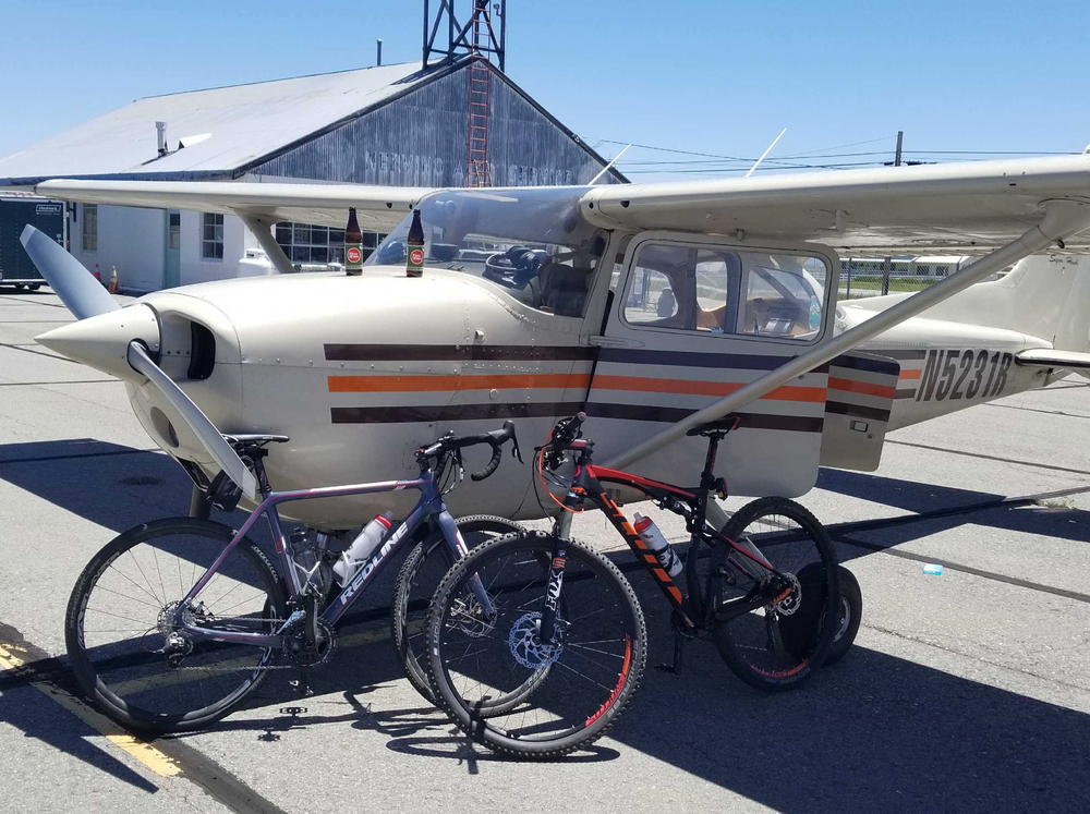 Flying the bikes into the Sierras to go bikepacking and bike racing.