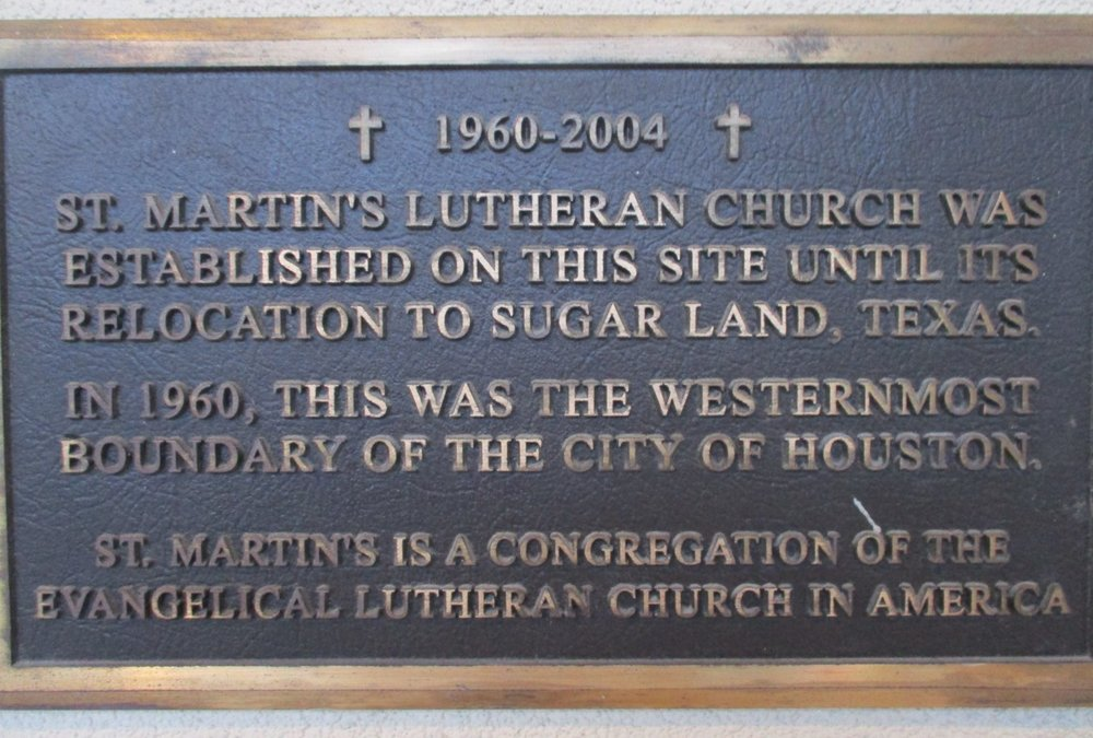 Placard located at the original site of St. Martin's in Sharpstown.