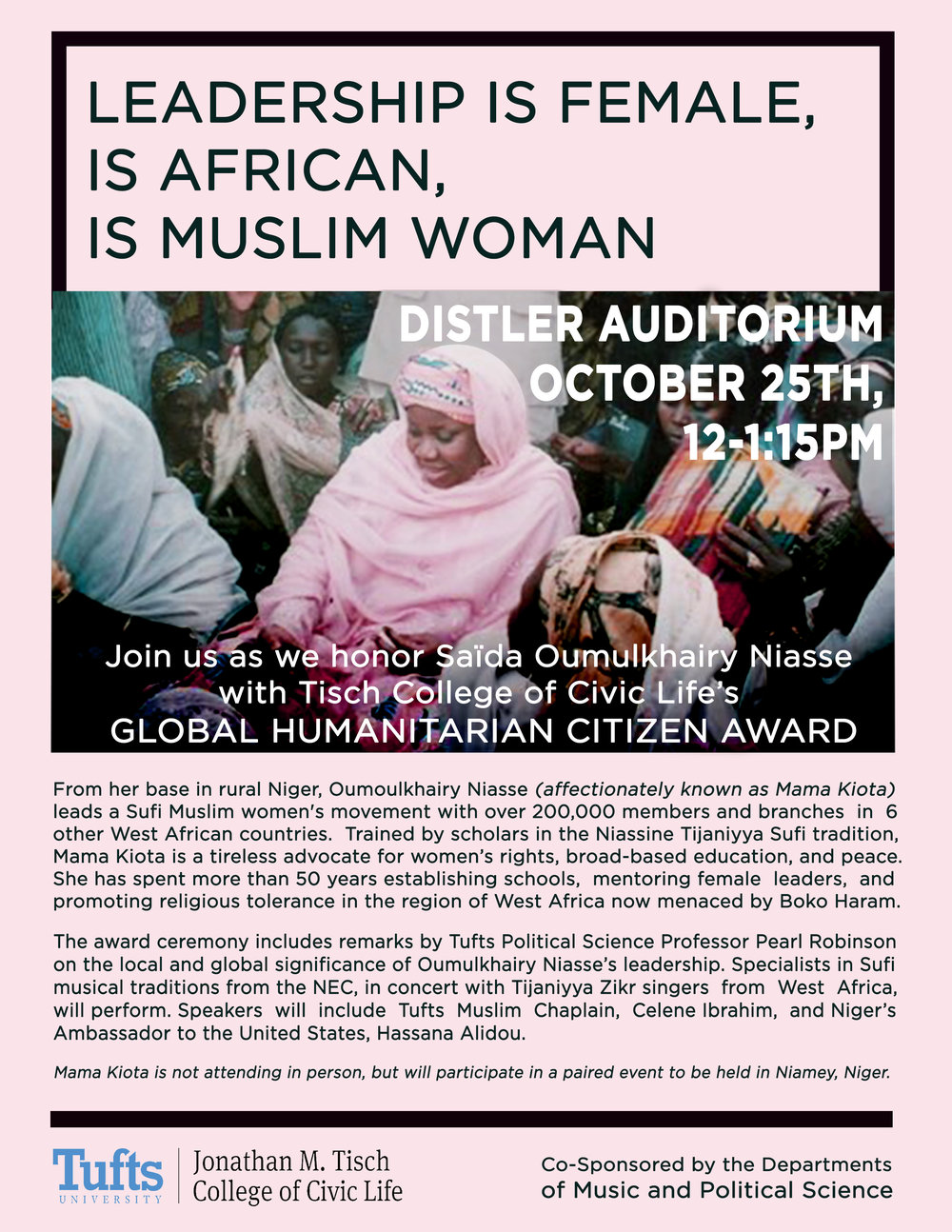 Flyer made for the Global Humanitarian Citizen Award Ceremony honoring the life and work of female muslim leader,  Mama Kiota