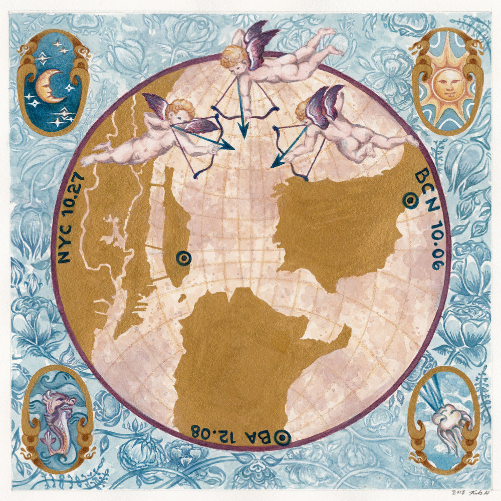 Custom watercolor antique map (back of invite) with  The Triumph of Galatea's  cupids aimed at the wedding's three destinations, enlarged in metallic gold ink. Includes faded florals of the wedding bouquet and map motifs from the 1600's.