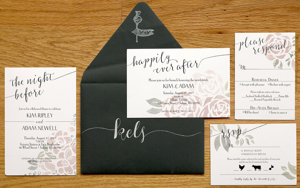 Invitation set included vectorized custom floral watercolors, layout consultation, and carved rubber stamp for the envelopes of the couple's initials in the logo of the venue