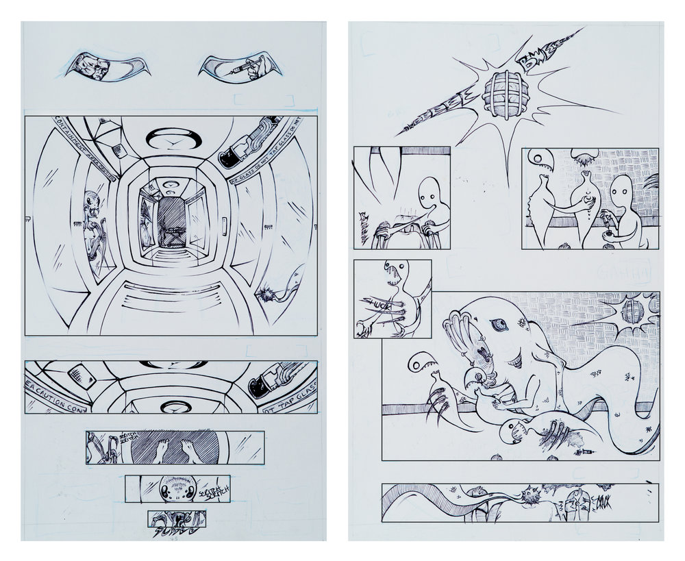 ballpoint pen concept panels for a sci-fi horror comic