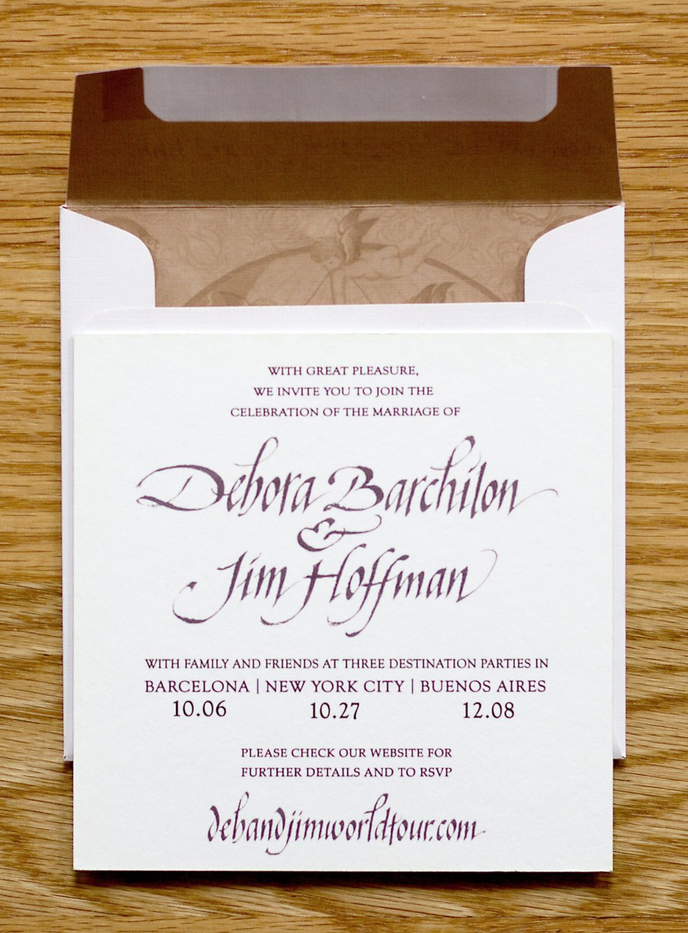 Designed front of invite and and envelope sleeve to highlight their wedding painting.
