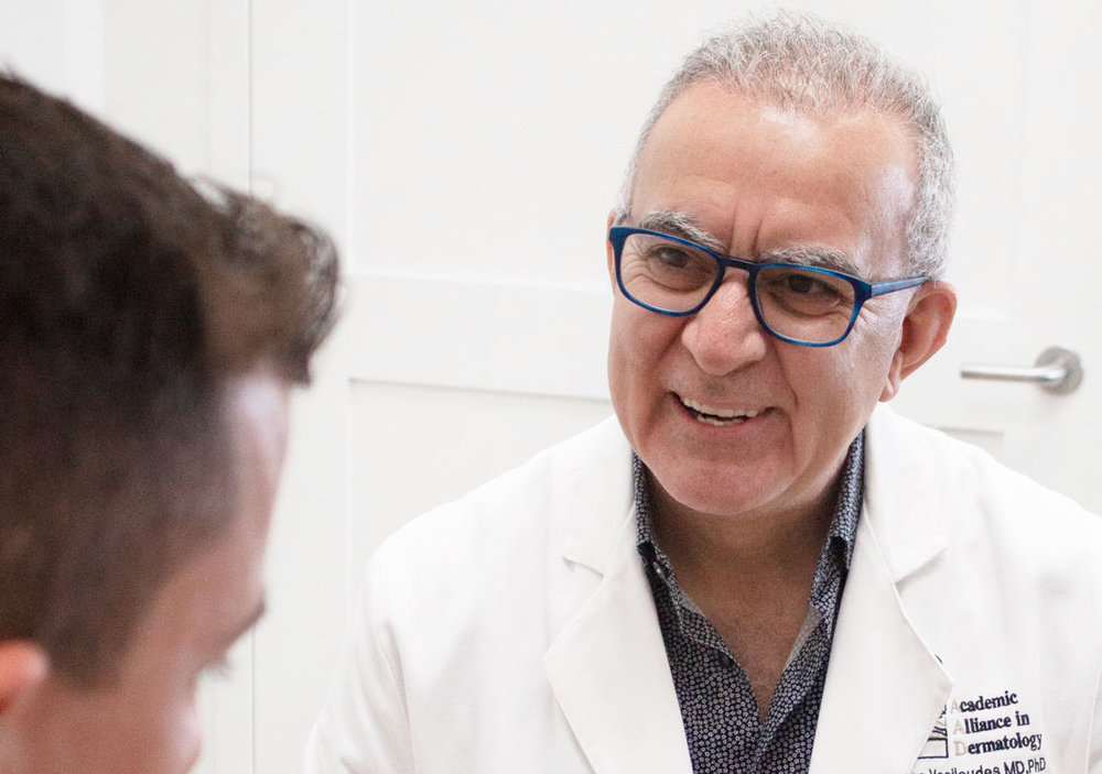 "Our CEO & President - Our team is lucky to be led by our CEO and President, Dr. Panos Vasiloudes. With over 25 years of incredible experience, Dr. V is largely considered the local ""father of dermatology"". His work in dermatology isn't just a career, it's his passion, and he has made it his mission to combat and eliminate death from malignant melanoma - a goal that he works tirelessly towards accomplishing."