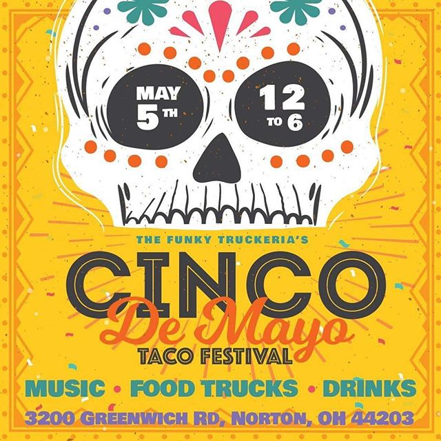 Did someone say TACO FEST!!?? We have the spot this year for Cinco De Mayo!! Come join us at The Funky Truckeria this year on May 5th from Noon until 6:00 pm for the first ever local Taco Fest! 8 different restaurants and trucks slinging some of the best and most unique tacos around! #tacos #tacotruck #tacotrucksoneverycorner #cincodemayo #cinco #akron #cleveland