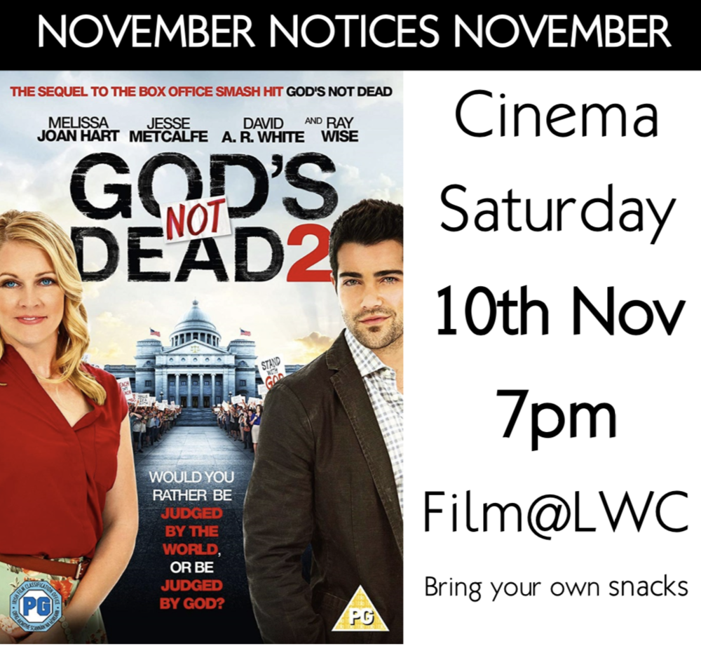 Cinema Saturday! - All are welcome and we look forward to seeing you.
