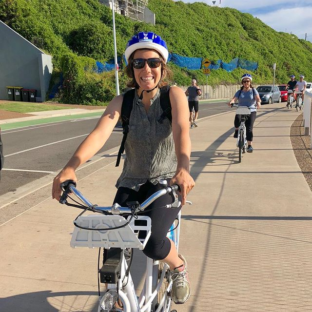 @bodsworthprue enjoying the ride between Nobbys and Newcastle baths on one of our 3 hour guided bike tours.  Join us from Boxing Day onwards to discover Newcastle on the @bykko e-bikes. . CLICK THE LINK IN BIO  #explorenewcastle #newcastletourism #bykko #bykkotours #tournewcastle #newcastletours #newcastlebeach #newcastlebiketours #newcastlensw