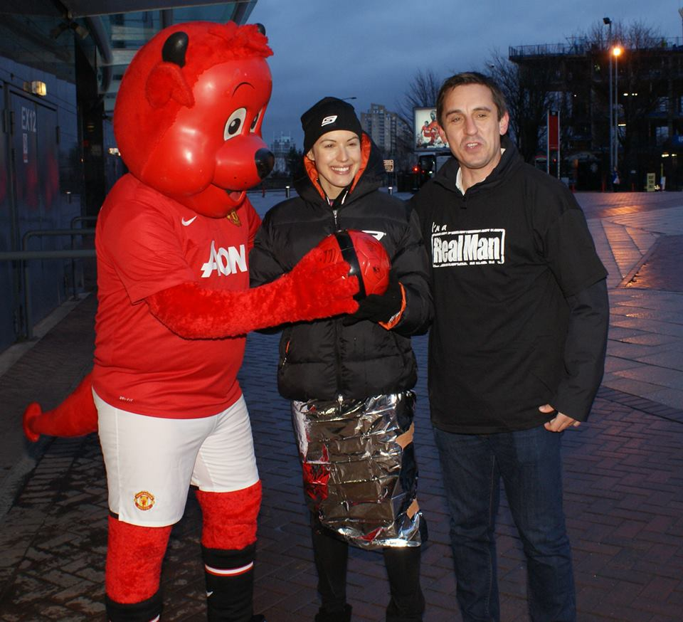 Charlie with Gary Neville, former Manchester United player
