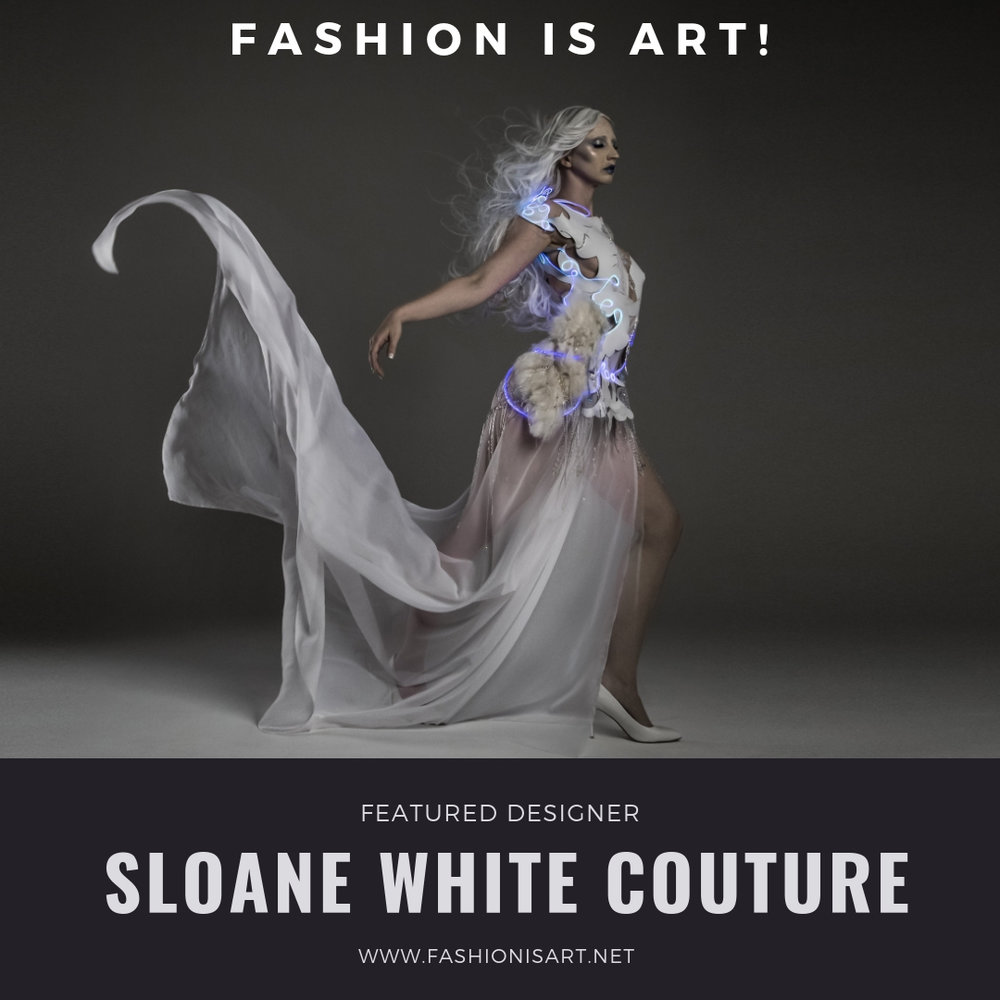 Sloane White Couture - Sloane White is a contemporary couturier living and working out of downtown PDX. White's collections are fabricated from one hundred percent reuse and reclaim materials found locally, using items such as broken costume jewelry or chandelier pieces, to trash items such as stirring straws.Website: www.sloanewhitecouture.com Facebook: @Sloane-White-CoutureInstagram: @Sloane.White.Couture