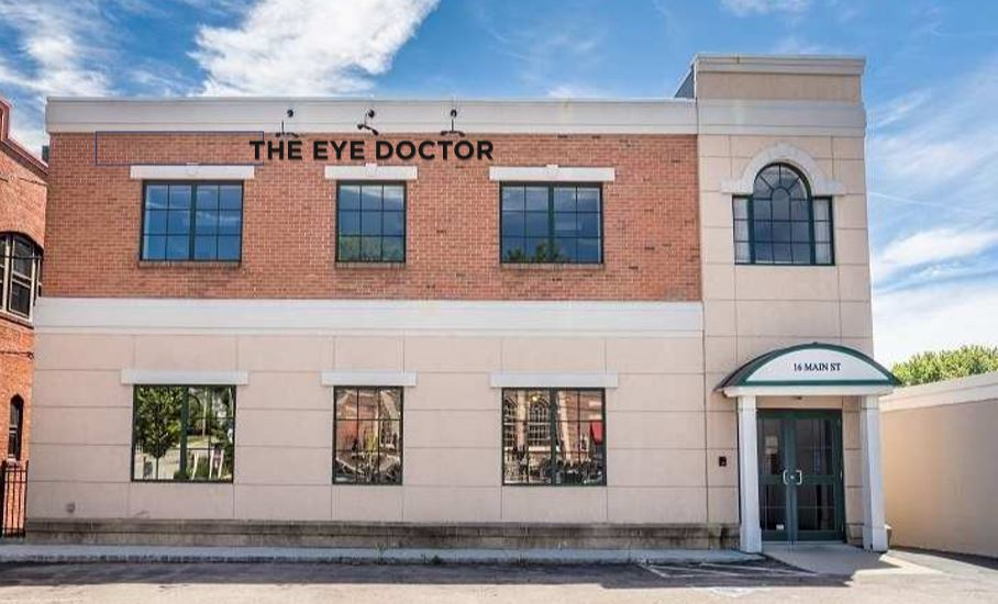 THE EYE DOCTOR at 16 Main Street - directly across from the old East Greenwich Post Office.  There are some parking spots near the front door.  Both front and back entrances allow for easy access to handicap accessible elevator.