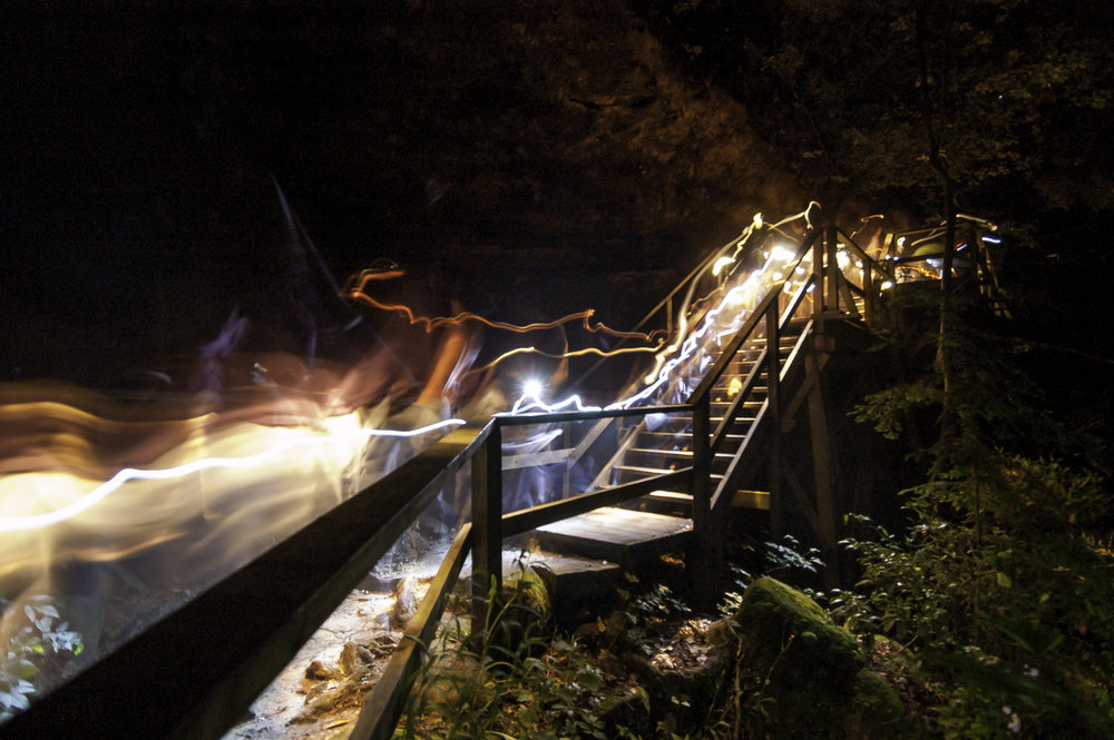 Long exposure photo of flashlight trails from a Dismalite tour