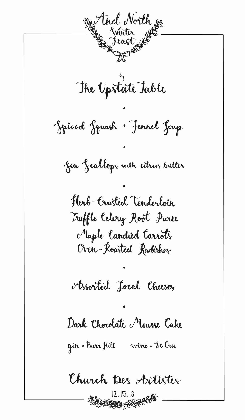 And North Winter Feast Menu