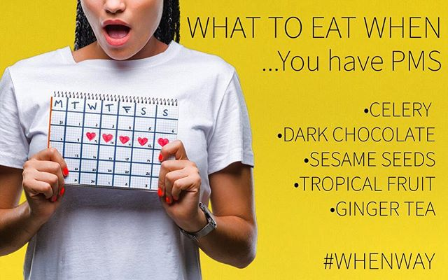 "Did you know there are foods that can help during that time of the month? #whenway has you covered! . . You ease some of those PMS symptoms with science! 🧬 Water filled veggies (like celery) can help with bloating. Calcium (in sesame seeds) can help reduce menstrual cramps and pain. Magnesium rich fruit (like pineapple 🍍) can also help period pain! There are also benefits in dark chocolate, but do we really need a reason to eat dark chocolate? 😋 . . More ""What to Eat When"" you have PMS tips in the book! Available now, link in bio. . . . . . . . . . . #pms  #healthylife #healthyeating #nutrition #weightlosstransformation  #healthy #dieting #diet #instahealth #instaweightloss #liveinspired #healthyhappylife #wellnessjourney #cleanliving"