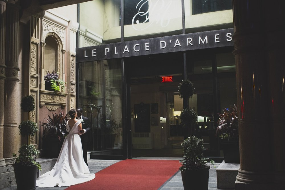 Silver White Wedding Bouquet & Decor Hotel Place d'Armes Old Montreal
