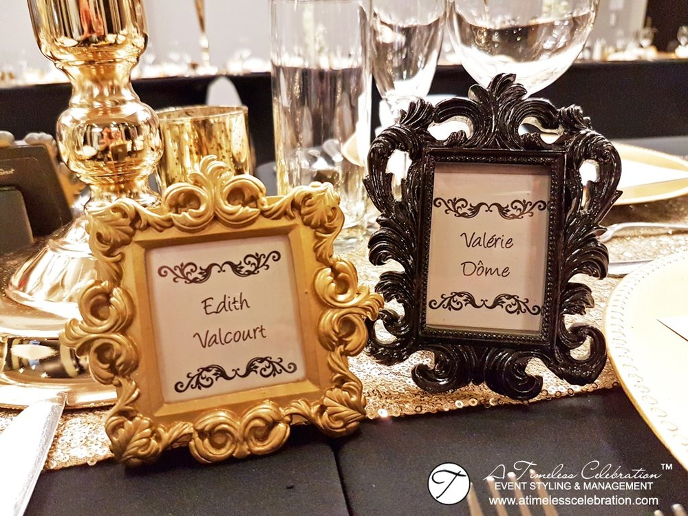 Old Montreal Wedding Florist Flowers Gold Black Decorations Hotel Place d'Armes Ornate Frame Placecards