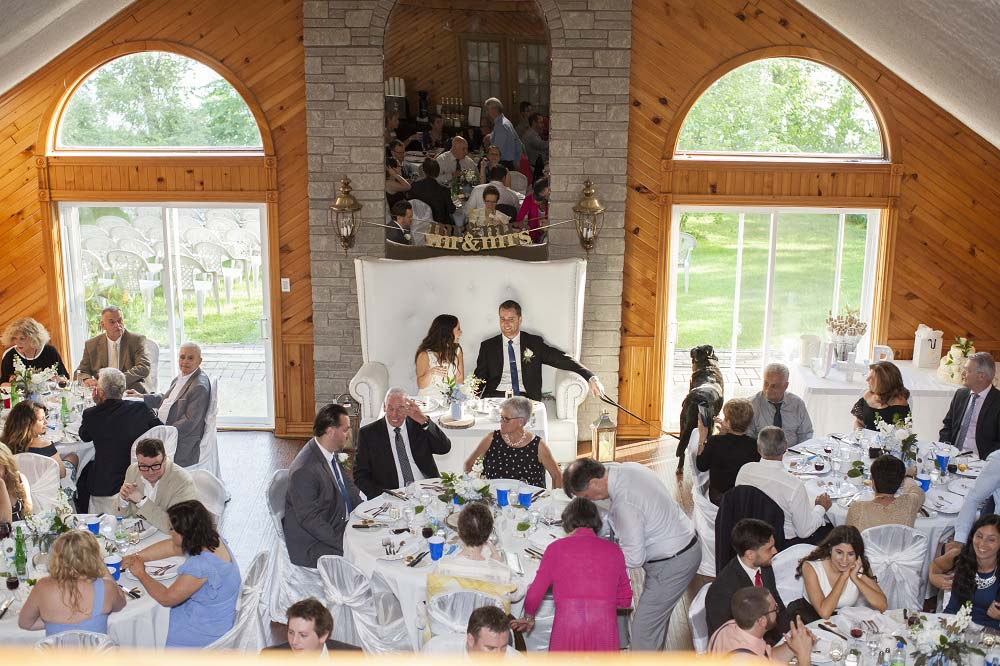 blue white rustic summer woodsy wedding ceremony reception flowers L'Oasis De L'ile montreal rustic centerpieces