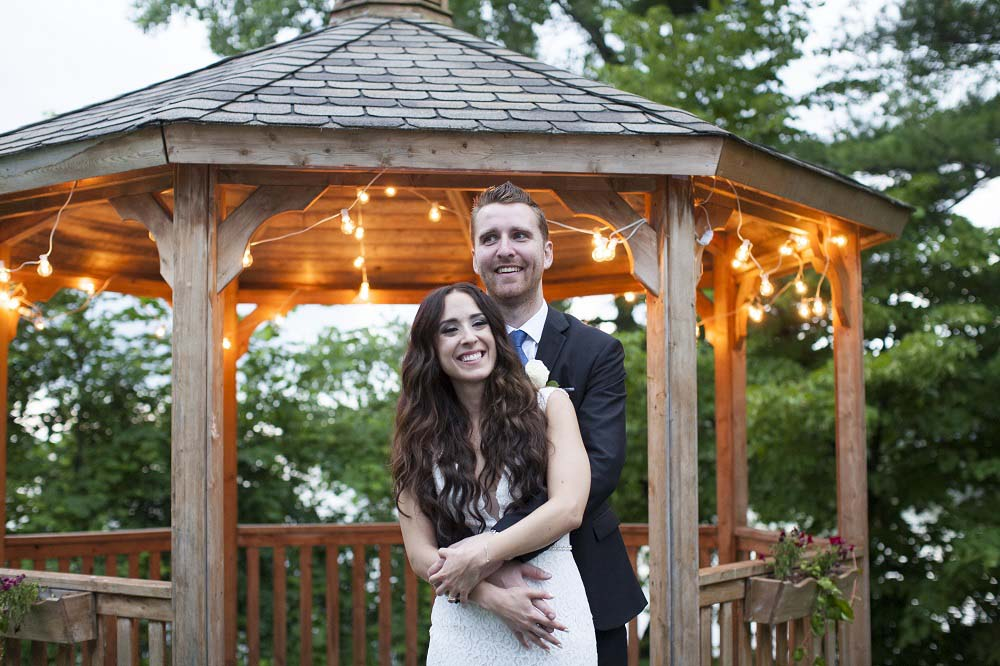 blue white rustic summer woodsy wedding ceremony reception flowers L'Oasis De L'ile montreal rustic