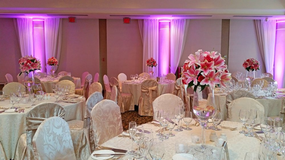 Pink Lilies Flower Centerpiece Chateau Vaudreuil Wedding Reception Montreal
