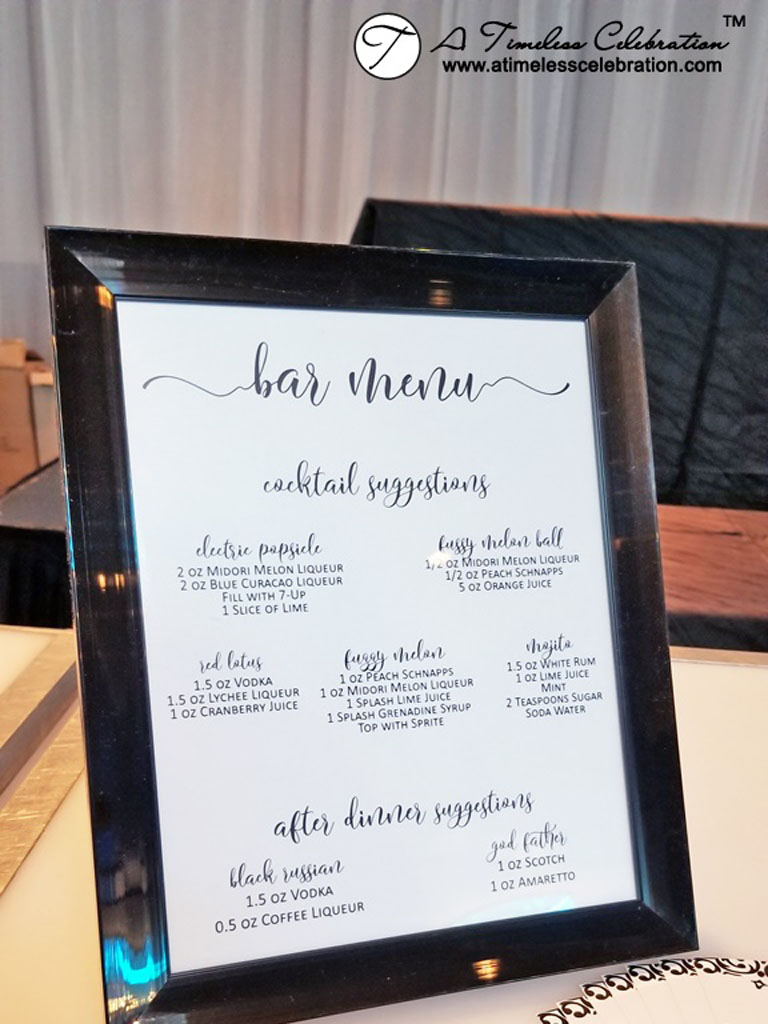 Black White Bar Menu Stationery Montreal Wedding at Le Madison