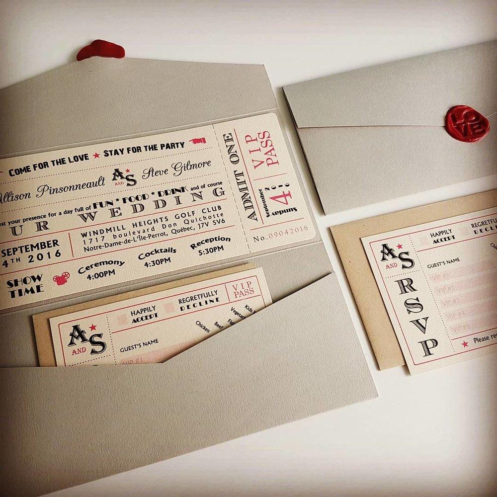 High Quality Pocket Invitations Montreal Wedding Old Vintage Movie Pass Plane Ticket.jpg