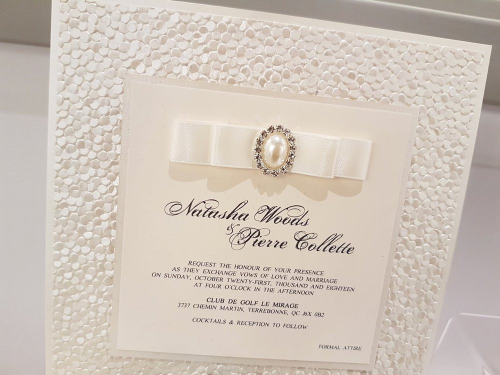 High Quality Ivory Wedding Invitations Rhinestone Buckle Pebble Papers Montreal.jpg