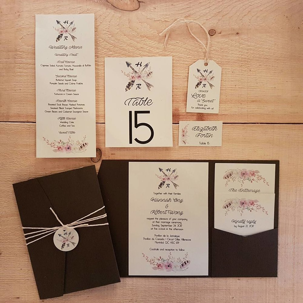 Boho Garden String Monogram Handmade Pocketfold Wedding Invitations Motnreal.jpg