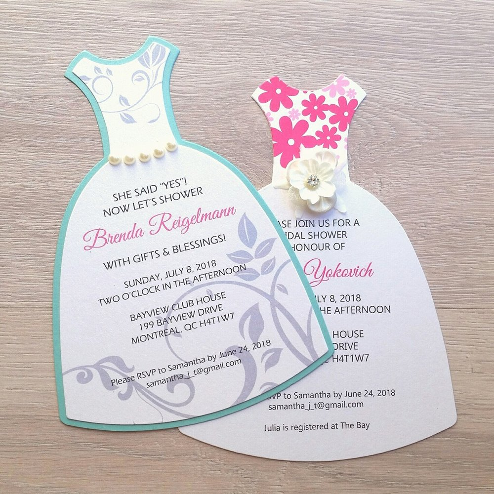 Bridal Shower Dress Die Cut Handmade Invitations Montreal Wedding.jpg