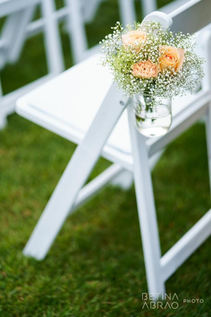 Peach Rustic Wedding at Elm Ridge Golf & Country Club Ile Bizard Montreal Wedding Ceremony Aisle Marker Baby's Breath Arrangement N+J02.jpg