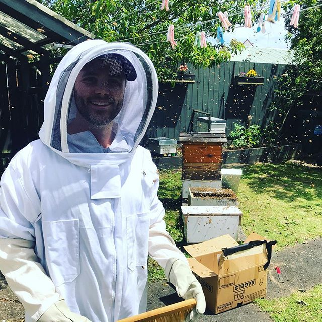 That's a sky full of bees and one happy keeper #beekeeping  #backyardbeekeeping #urbanbeekeeping @beeboysmiraclehoney