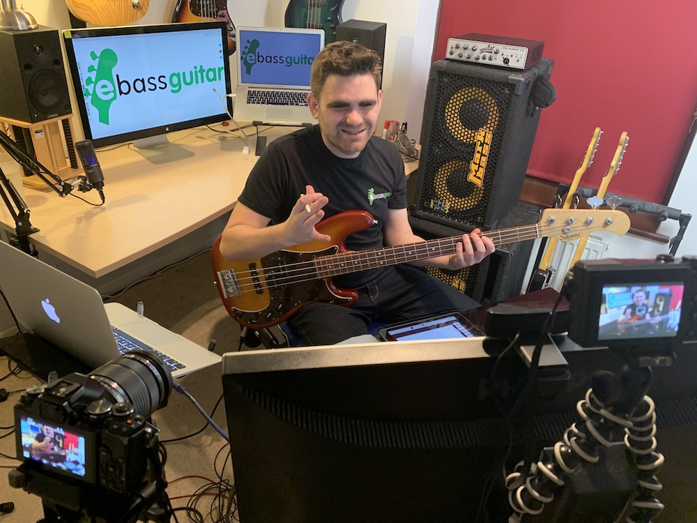Presenting and recording a live masterclass at eBassGuitar HQ on music theory for bass guitar players