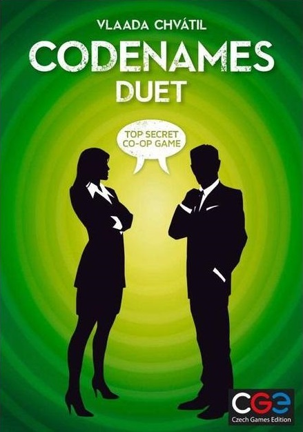 Codenames Duet - Work together with your partner to identify all of your secret agents.2-4 players (Cooperative)