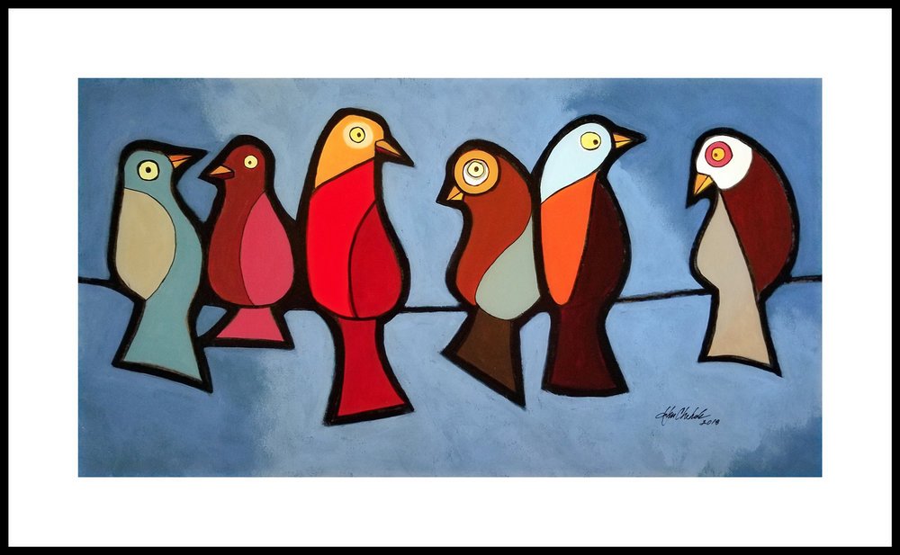 This was a commissioned piece where the patron wanted all of the birds standing upright and had specific color requests.