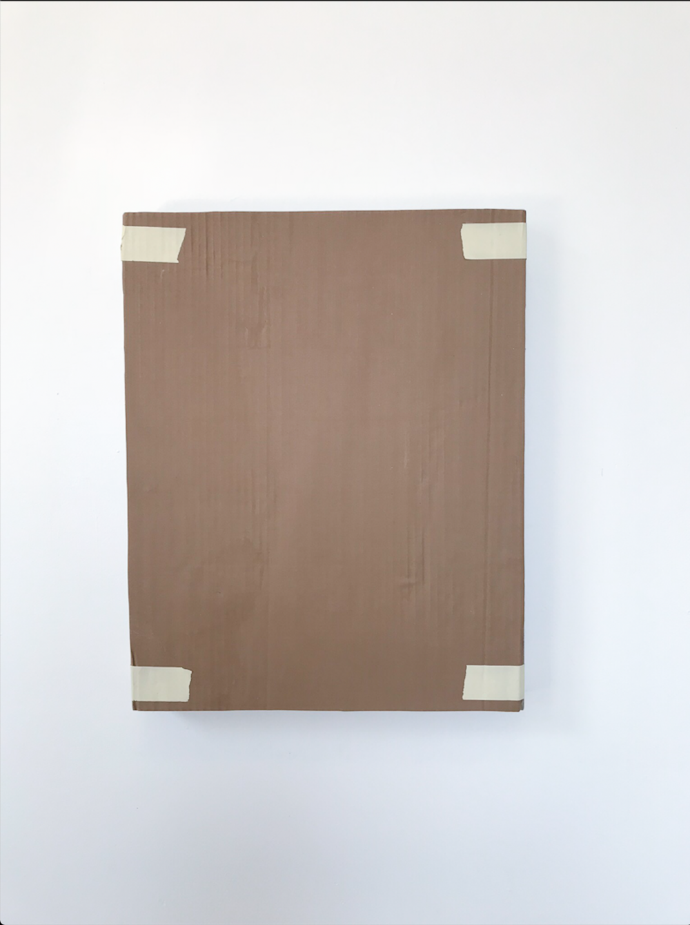 """Monochrome with Cardboard and Masking Tape , 2018, Acrylique sur toile de lin, 20"""" x 16""""."""