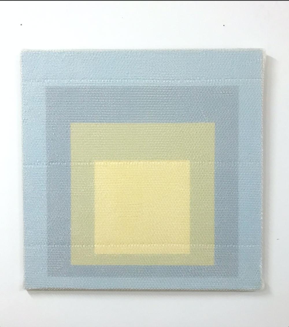 """Homage to the Square #3, 2018,  Acrylique sur toile de lin, 36"""" x 36""""."""