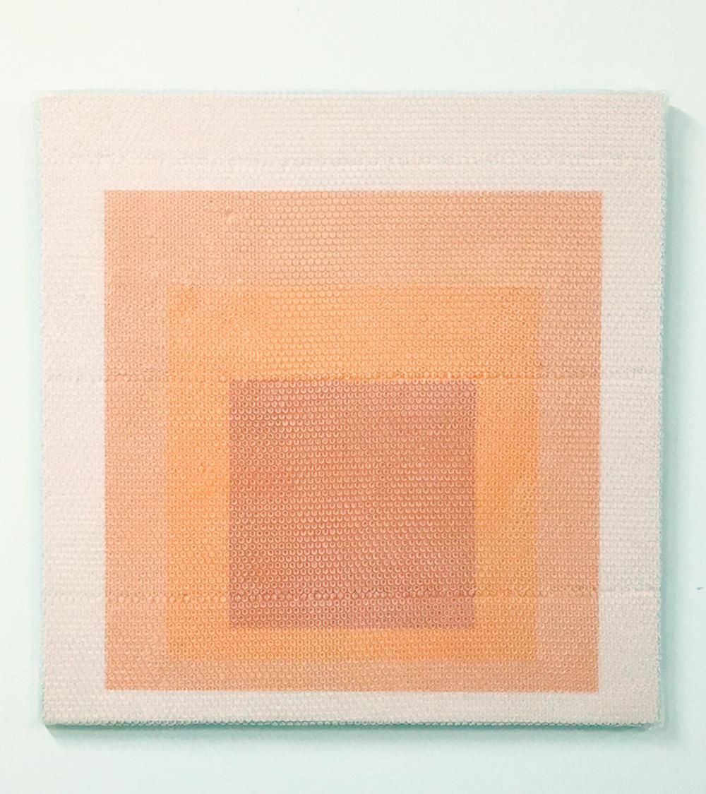 """Homage to the Square #2, 2018,  Acrylique sur toile de lin, 36"""" x 36""""."""