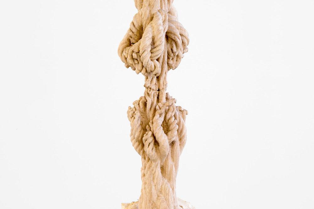 "Study for Cord Progression , 2017 Ash tree trunk, gantry, rigging hardware 132"" x 24"" x 32"" (Detail)."