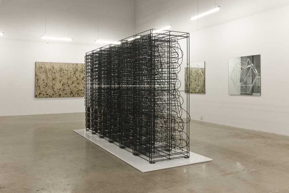 Engrams (The world of ideas) , 2013 Steel, white marble, rubber, magnets 206 x 388 x122 cm