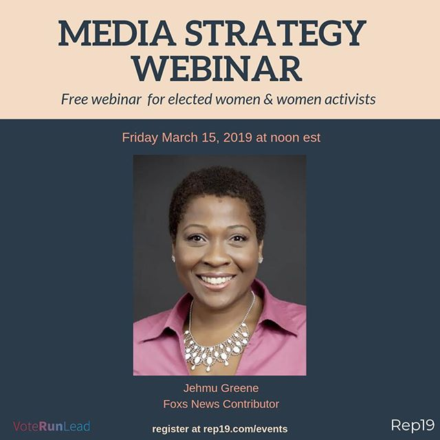 Thanks to everyone who joined us for our first webinar! It was fantastic. We're excited about our next session with media expert and @voterunlead Board chair @jehmu! It's on next Friday March 15 at noon est. There's still time to join. Rep19.com/events (link in bio) #media #womeninmedia #womeninpolitics #womenlead